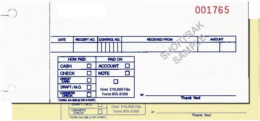aa5082 cash receipt form